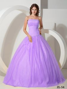 Tulle Strapless Floor-length Beaded Quinceanera Dress in Purple in Bermejo