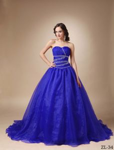 Sweetheart Beaded Quinceanea Gown Dress with Chapel Train in Yacuiba