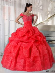 Red Off The Shoulder Pick Ups and Diamonds Sweet 15 Dresses in Delafield
