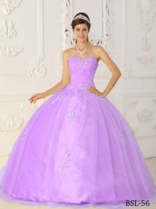 Lilac Sweetheart Puffy Dress For Quinceanera with Appliques in Gillette WY