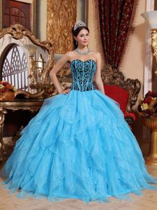 Fancy Black and Blue Ruffled Layers Bodice Sweet 15 Dresses near Glenville
