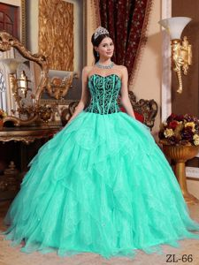 Black and Apple Green Ruffled Layers Puffy Quinceaneras Dress near Davis