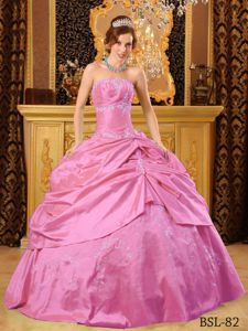 Strapless Sweet 16 Dresses with Embroidery and Ruche in Berkeley Springs
