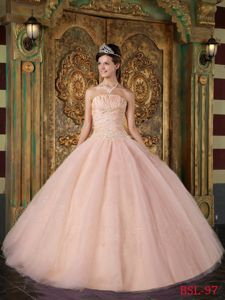 Paillettes Ruche and Appliques Peach Quinceanera Gowns in Huntington