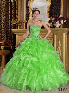 Custom Made Beaded and Ruffled Green Quince Dresses in Long Beach
