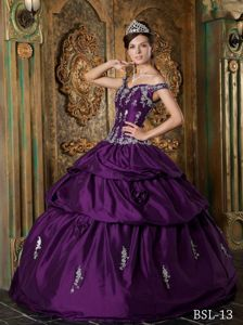 Purple Straps Appliques Sweet Sixteen Quinceanera Dress in North Bend