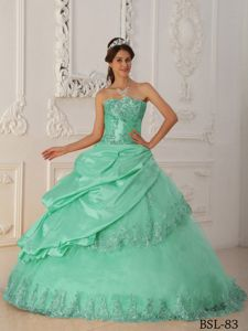 Discount Apple Green Quinceaneras Dress with Lace Hemline in Snohomish