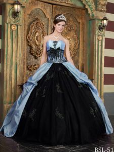 Blue and Black Strapless Taffeta Appliques Quinceanera Dress in Las Vegas