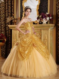 Gold Sweetheart Sequined and Tulle Hand Made Flowers Quinceanera Dress
