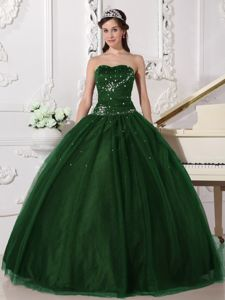 Hunter Green Sweetheart Tulle with Rhinestone Quinceanera Dress in Bozeman