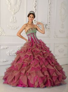Fuchsia Strapless Organza Ruffles and Appliques Quinceanera Gown Dresses