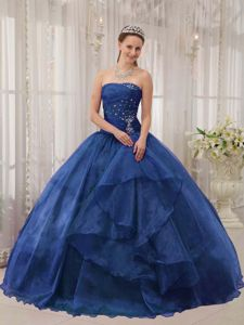 Blue Ball Gown Organza Sweet 15 Dress with Beading and Ruching in Columbia