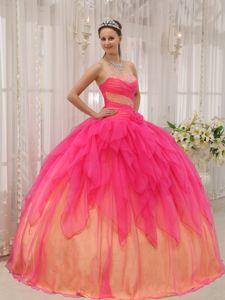 Hot Pink Strapless Organza with Beading Quinceanera Dress in Cape Girardeau