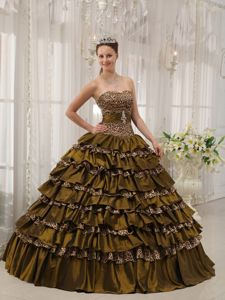 Brown Sweetheart Taffeta and Leopard Ruffles Quinceanera Dress in Chesterfield
