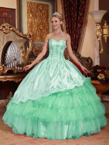 Apple Green Sweetheart Embroidery and Layers Quinceanera Dress in Biloxi