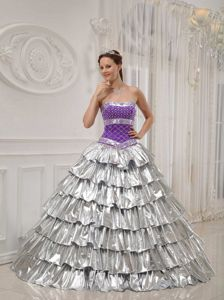 Popular Purple and Silver Princess Strapless Beading Sweet Sixteen Dresses