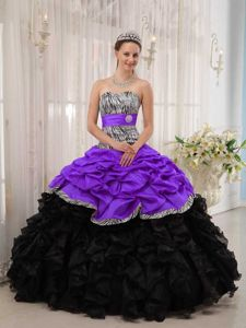 Brand New Purple and Black Sweetheart Quinceanera Dress with Zebra Printing
