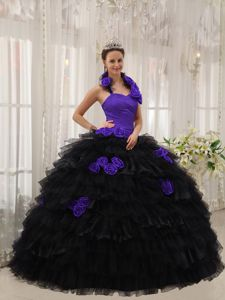 Eden Prairie Purple and Black Halter Top Hand Made Flowers Sweet 15 Dresses