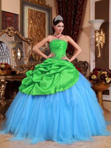 Green and Blue Strapless Appliques with Beading Quinceanera Dress in Saginaw