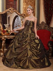 Brown Sweetheart Floor-length Taffeta Beading Quince Dress in Mount Pleasant