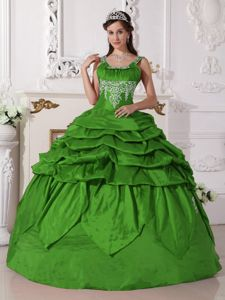 Green Scoop Neckline Taffeta Beading Sweet Sixteen Dresses in Grand Rapids