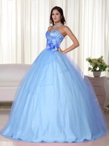 Light Blue Sweetheart Tulle Beading Quinceanera Dress with Hand Made Flowers