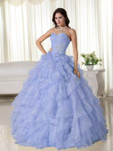 Light Blue Sweetheart Ruffled Layers Organza Appliques Quinceanera Dress