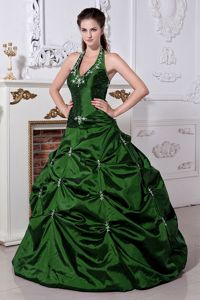 Hunter Green Halter Long Quinceanera Gown with Embroidery and Pick-ups