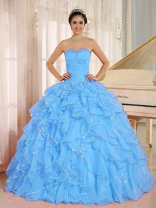 Lovely Aqua Blue Beaded Sweetheart Long Quinceanera Gown with Ruffles