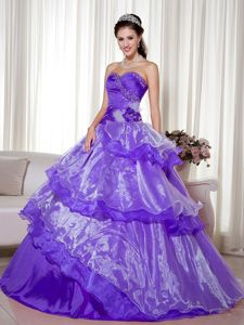 Purple Sweetheart Floor-length Quinceanera Gown with Flower and Layers
