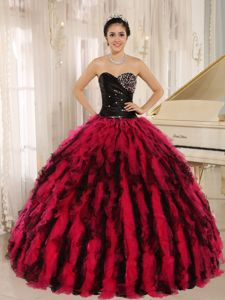 Black and Red Beaded Sweetheart Long Quinceanera Gowns with Ruffles