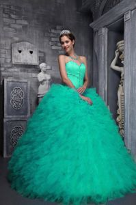Exclusive Sweetheart Apple Green Floor-length Quince Dress with Beading