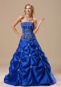 Royal Blue Strapless Long Quinces Dresses with Pick-ups and Embroidery