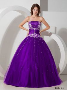 Purple Strapless Long Quinceanera Gown Dress with Beading and Appliques