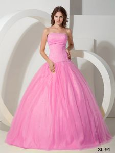 Cute Rose Pink Beaded Strapless Full-length Sweet 15 Dresses in Hyannis