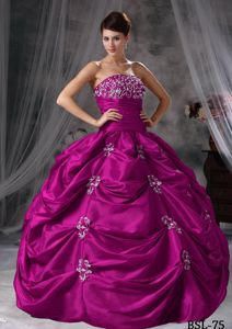 New Strapless Fuchsia Long Quinceanera Gown with Pick-ups and Appliques