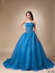 Sweetheart Blue Beaded Floor-length Quinceanera Gown Dresses in Warren