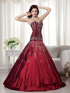Wine Red Beaded Sweetheart Long Quince Dress with Embroidery in Wayne