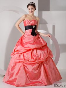 Watermelon Sweetheart Long Quinceanera Gowns with Pick-ups and Sash