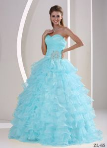 Cute Sweetheart Baby Blue Beaded Full-length Sweet 16 Dress with Ruffles