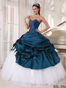 Teal and White Sweetheart Floor-length Quinceanera Dresses with Pick-ups