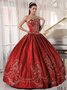Rust Red Strapless Full-length Quinceanera Gown with Embroidery in Union
