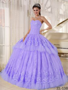 Elegant Lilac Sweetheart Long Quinceanera Gowns with Appliques in Reno