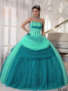 Special Turquoise Lace-up Beaded Full-length Quinceanera Gown Dresses