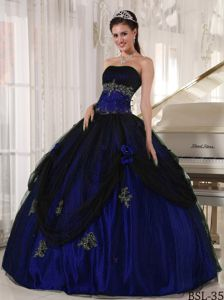 Strapless Royal Blue Floor-length Quinceanera Gown Dress with Appliques