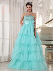 Apple Green Beaded Strapless Floor-length Quinceanera Gown with Flower