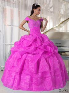 Fuchsia Off The Shoulder Full-length Quinceanera Gown Dress with Pick-ups