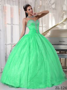 Bright Green Sweetheart Floor-length Dresses For Quinceaneras with Appliques