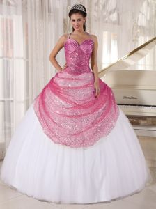 Rose Pink and White Halter Long Quinces Dresses with Appliques in Beverly