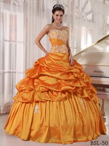 Orange Appliqued Sweetheart Long Quinces Dresses with Pick-ups in Acton